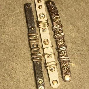 3 Leather studded charmed band/bracelets.
